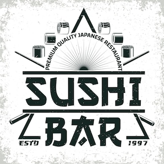 Vintage sushi bar logo ,  grange print stamp, creative japanese food typography emblem,