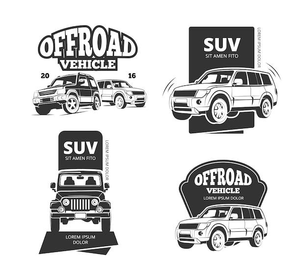 Vintage suv car vector badges