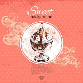 Урожай сладкий фон. рисованной иллюстрации. меню для ресторана и кафе