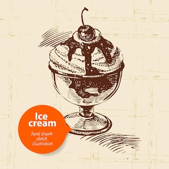 Vintage sweet ice cream background with color bubble. hand drawn illustration
