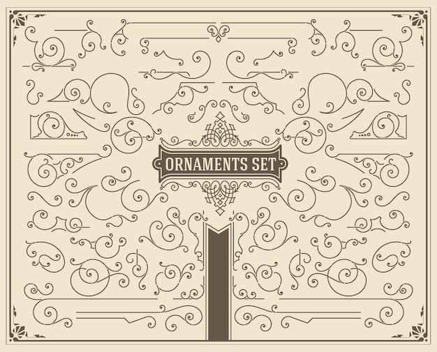Vintage swirls and scrolls design elements