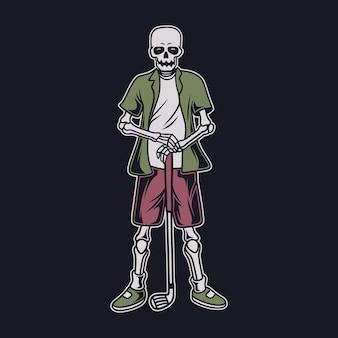 빈티지 티셔츠 디자인 멋진 골프 해골 그림