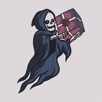 빈티지 티셔츠 디자인 저승사자는 선물 상자 그림을 가져옵니다.