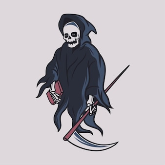 빈티지 티셔츠 디자인 죽음의 신은 책 그림을 가져옵니다