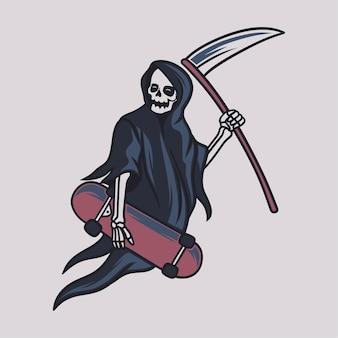 Vintage t shirt design grim reaper bring a skateboard on the side illustration