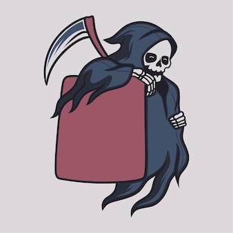 빈티지 티셔츠 디자인 죽음의 신은 그 옆에 판자를 그림으로 가져옵니다.