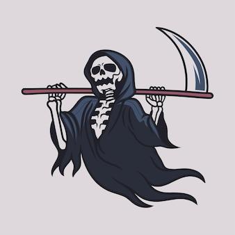 그의 어깨 그림에 양손으로 도끼를 들고 빈티지 티셔츠 디자인 죽음의 신