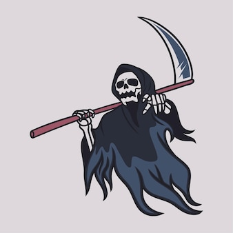 Vintage t shirt design grim reaper carrying ax and pointing illustration