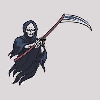 Vintage t shirt design grim reaper carrying ax with both hands in front of his chest illustration