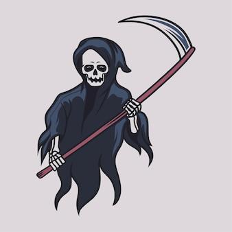 빈티지 티셔츠 디자인 저승사자는 위 그림 앞에서 양손으로 도끼를 들고 있다