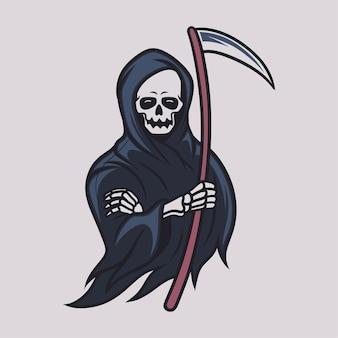 Vintage t shirt design grim reaper coll illustration