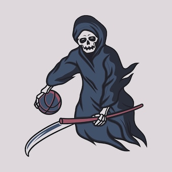 Vintage t shirt design grim reaper fly with a basketball illustration