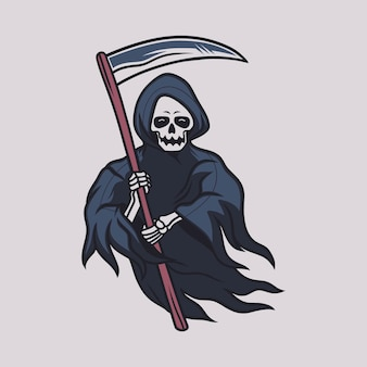 Vintage t shirt design grim reaper the front sight carries the ax illustration