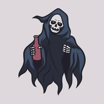 빈티지 티셔츠 디자인 저승사자 전면 보기는 음료 그림 한 병을 가져옵니다.