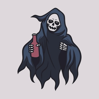 Vintage t shirt design grim reaper front view brings a bottle of drink illustration