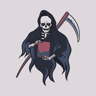 빈티지 티셔츠 디자인 저승사자 전면 보기는 책 그림을 전달합니다.