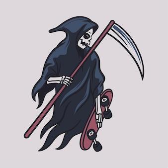 빈티지 티셔츠 디자인 저승사자는 스케이트보드 그림을 준비합니다.