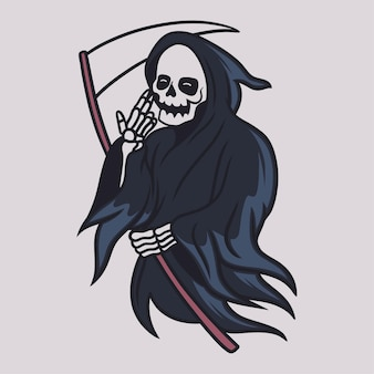 Vintage t shirt design grim reaper holding the ax with the left hand illustration
