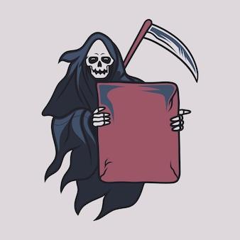 Vintage t shirt design grim reaper holding a board in front of him illustration