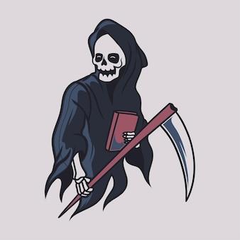Vintage t shirt design grim reaper holding a book illustration