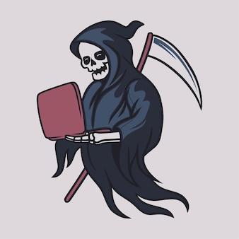 Vintage t shirt design grim reaper holding the laptop illustration