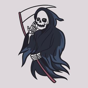 왼손 일러스트와 함께 도끼를 들고 빈티지 티셔츠 디자인 죽음의 신