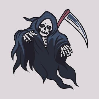 빈티지 티셔츠 디자인 죽음의 신은 누군가를 다치게했습니다.