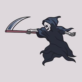 도끼를 측면 그림으로 향하게 하는 위치에 있는 빈티지 티셔츠 디자인 저승사자