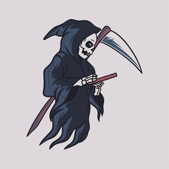 Vintage t shirt design grim reaper look at the book illustration