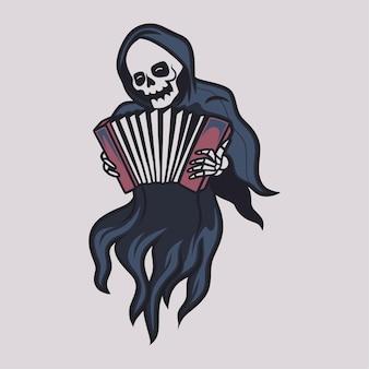 Vintage t shirt design grim reaper play the accordion illustration