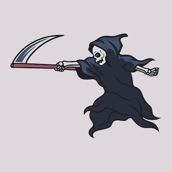 Vintage t shirt design grim reaper in a position to direct the ax to the side illustration