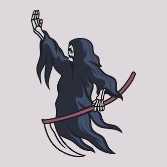 빈티지 티셔츠 디자인 저승사자는 오른손 삽화를 들었다