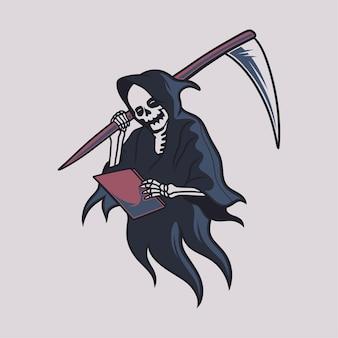 빈티지 티셔츠 디자인 저승사자는 책을 읽고 큰 도끼 삽화를 들고 있다