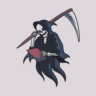 Vintage t shirt design grim reaper reading a book and carrying a big ax illustration