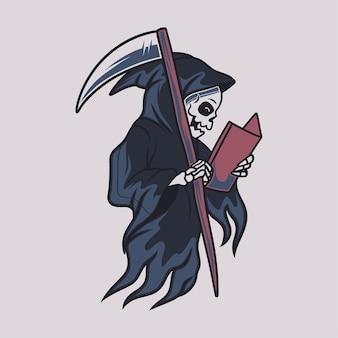 Vintage t shirt design grim reaper reading a book illustration