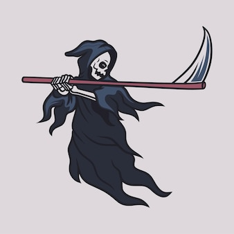 Vintage t shirt design grim reaper saw his ax and prepared to attack illustration