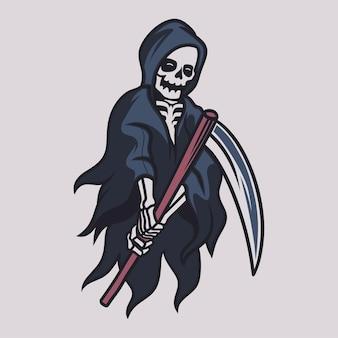 Vintage t shirt design grim reaper saw one side of the ax illustration