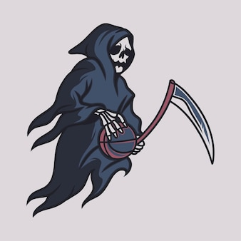 Vintage t shirt design grim reaper side view brings the basketball illustration