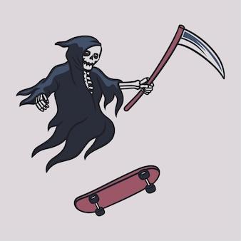 Vintage t shirt design grim reaper skateboarding in a flying position illustration