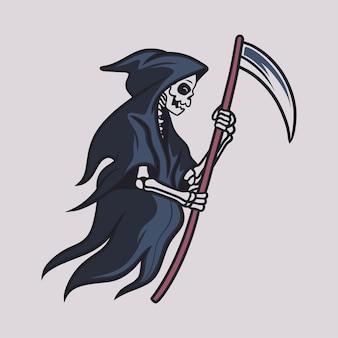 Vintage t shirt design grim reaper walk with a big ax illustration