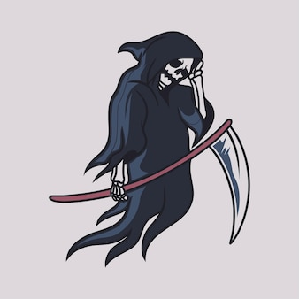 Vintage t shirt design grim reaper walking with a big ax and holding the head illustration