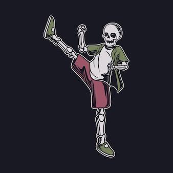 Винтажный дизайн футболки, вид сбоку черепа, ударяющего правой ногой о карате