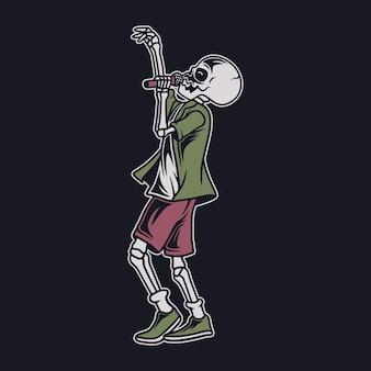 Винтажная футболка дизайн сбоку на поющий череп музыкальная иллюстрация
