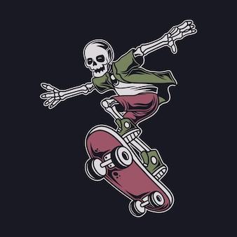 빈티지 티셔츠 디자인 스켈레톤 점프 위치와 스케이트보드 그림 앞에 있는 것을 피합니다.