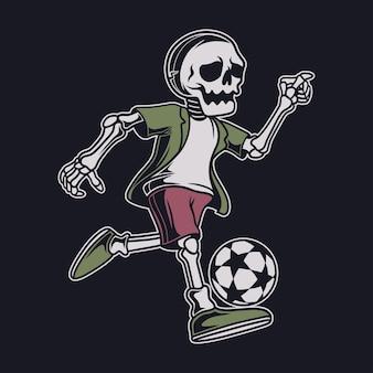 빈티지 티셔츠 디자인 해골 드리블 축구 그림