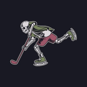 Vintage t shirt design the skull in a dribbling position and outwit the opponent hockey illustration