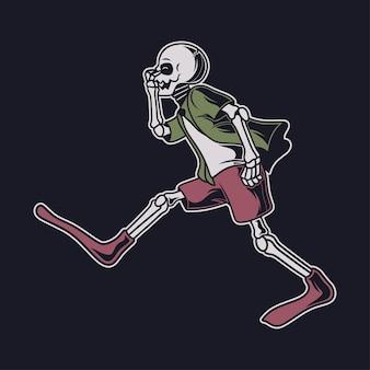 빈티지 티셔츠 디자인 해골 준비 다이빙 그림