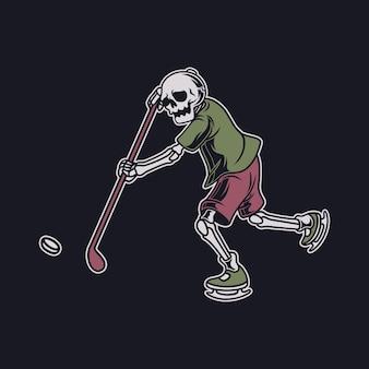 빈티지 티셔츠 디자인 두개골은 상대의 골 하키 그림을 향해 막대기로 공을 친다