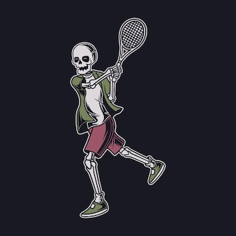Vintage t shirt design the skull hitting the ball with both hands tennis illustration