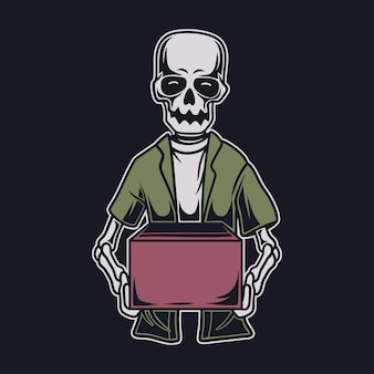 Vintage t shirt design skull holding the box with two hands illustration